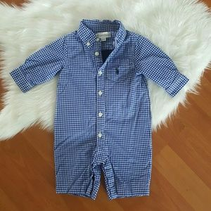 Ralph Lauren boys blue check one piece romper NB